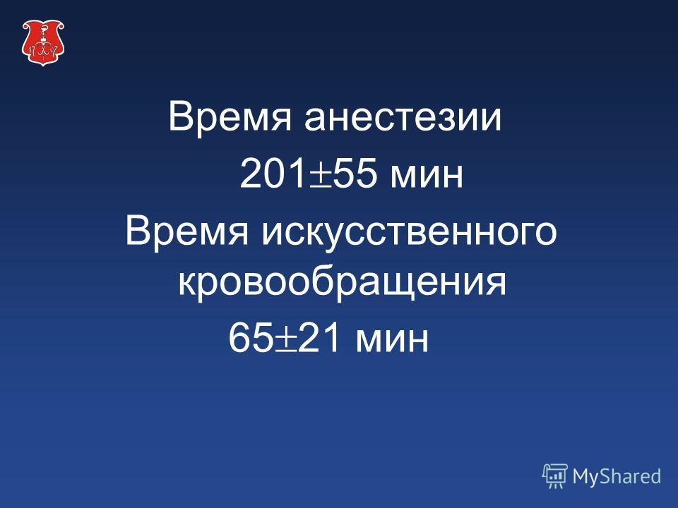 Время анестезии 201 55 мин Время искусственного кровообращения 65 21 мин