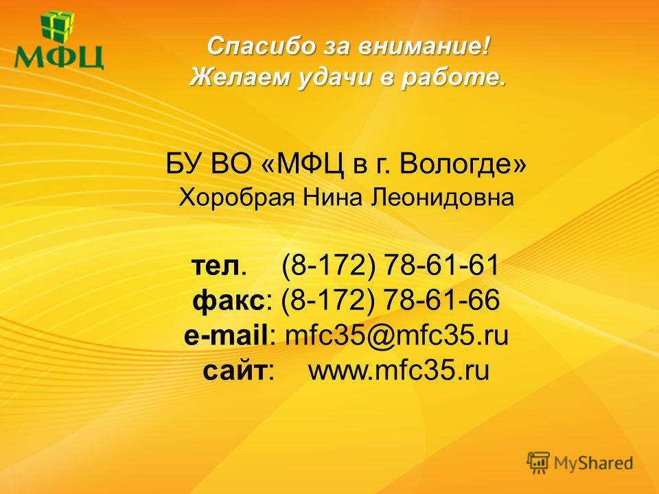 Спасибо за внимание! Желаем удачи в работе. БУ ВО «МФЦ в г. Вологде» Хоробрая Нина Леонидовна тел. (8-172) 78-61-61 факс: (8-172) 78-61-66 e-mail: mfc35@mfc35.ru сайт: www.mfc35.ru