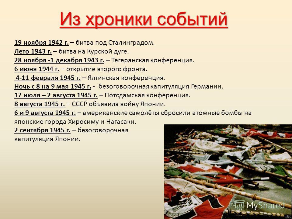 Из хроники событий 19 ноября 1942 г. – битва под Сталинградом. Лето 1943 г. – битва на Курской дуге. 28 ноября -1 декабря 1943 г. – Тегеранская конференция. 6 июня 1944 г. – открытие второго фронта. 4-11 февраля 1945 г. – Ялтинская конференция. Ночь