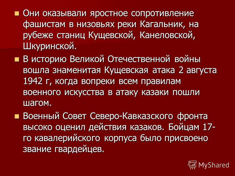 Они оказывали яростное сопротивление фашистам в низовьях реки Кагальник, на рубеже станиц Кущевской, Канеловской, Шкуринской. Они оказывали яростное сопротивление фашистам в низовьях реки Кагальник, на рубеже станиц Кущевской, Канеловской, Шкуринской