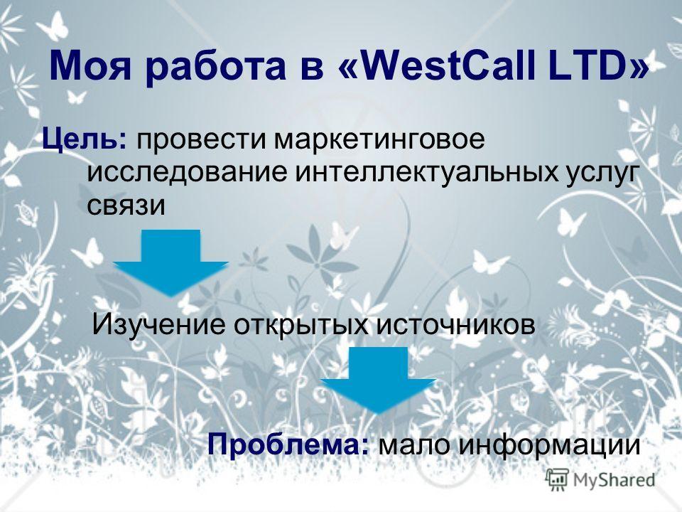 Моя работа в «WestCall LTD» Цель: провести маркетинговое исследование интеллектуальных услуг связи Изучение открытых источников Проблема: мало информации