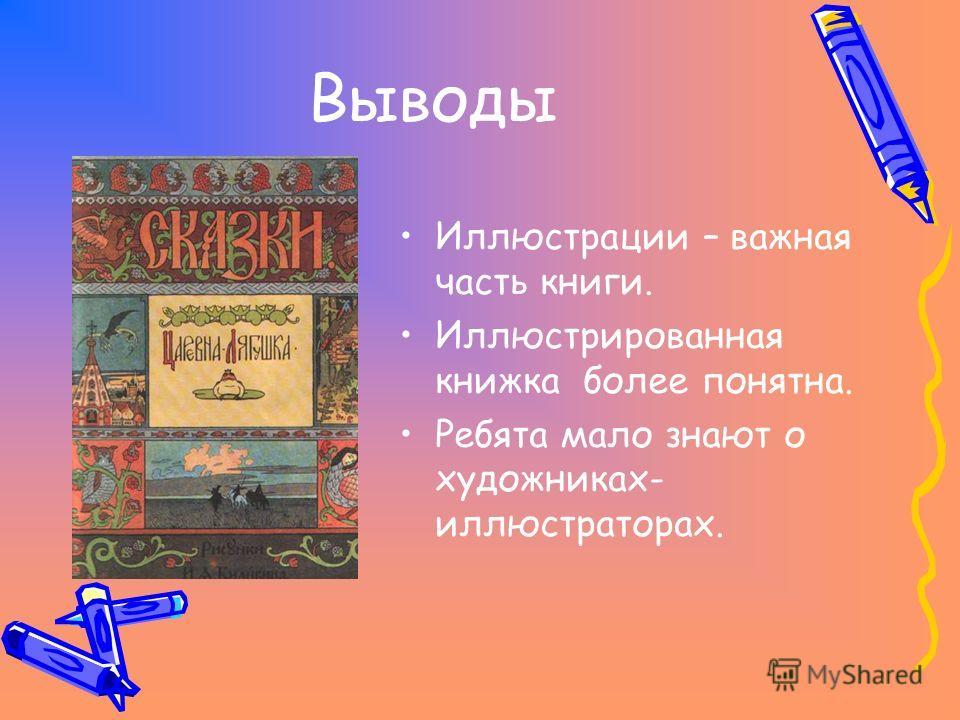 Выводы Иллюстрации – важная часть книги. Иллюстрированная книжка более понятна. Ребята мало знают о художниках- иллюстраторах.