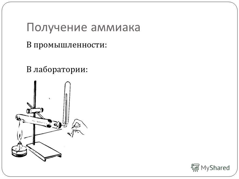 Получение аммиака В промышленности : В лаборатории :
