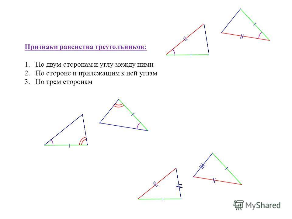 Признаки равенства треугольников: 1.По двум сторонам и углу между ними 2.По стороне и прилежащим к ней углам 3.По трем сторонам
