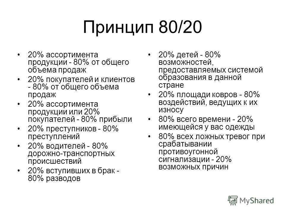 Принцип 80/20 20% ассортимента продукции - 80% от общего объема продаж 20% покупателей и клиентов - 80% от общего объема продаж 20% ассортимента продукции или 20% покупателей - 80% прибыли 20% преступников - 80% преступлений 20% водителей - 80% дорож