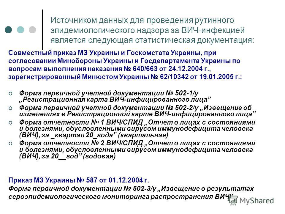 Источником данных для проведения рутинного эпидемиологического надзора за ВИЧ-инфекцией является следующая статистическая документация: Совместный приказ МЗ Украины и Госкомстата Украины, при согласовании Минобороны Украины и Госдепартамента Украины