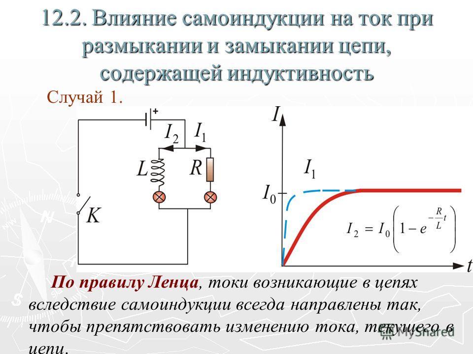 12.2. Влияние самоиндукции на ток при размыкании и замыкании цепи, содержащей индуктивность Случай 1. По правилу Ленца, токи возникающие в цепях вследствие самоиндукции всегда направлены так, чтобы препятствовать изменению тока, текущего в цепи.