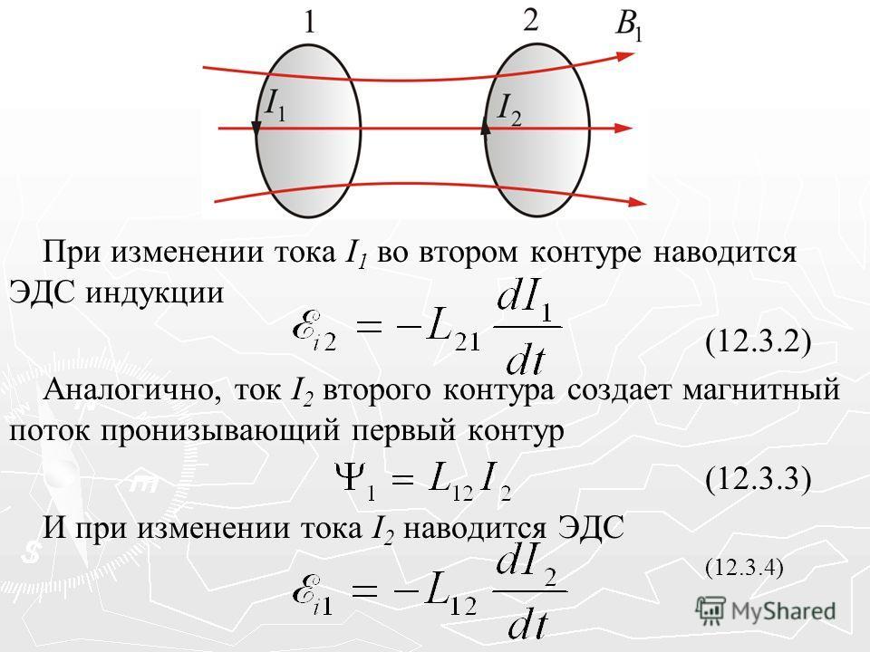 При изменении тока I 1 во втором контуре наводится ЭДС индукции (12.3.2) Аналогично, ток I 2 второго контура создает магнитный поток пронизывающий первый контур (12.3.3) И при изменении тока I 2 наводится ЭДС (12.3.4)