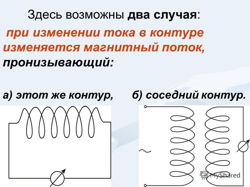 Здесь возможны два случая: при изменении тока в контуре изменяется магнитный поток, пронизывающий: а) этот же контур, б) соседний контур.