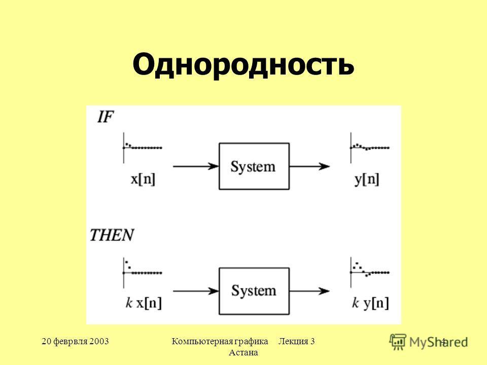 20 феврвля 2003Компьютерная графика Лекция 3 Астана 4 Однородность