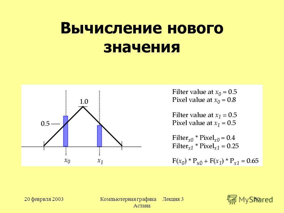 20 феврвля 2003Компьютерная графика Лекция 3 Астана 50 Вычисление нового значения