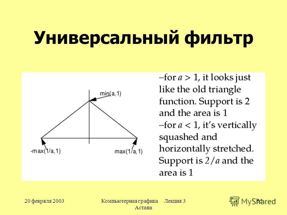 20 феврвля 2003Компьютерная графика Лекция 3 Астана 55 Универсальный фильтр