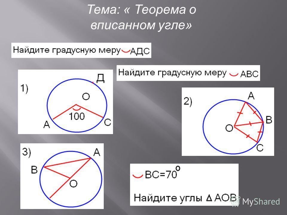Тема: « Теорема о вписанном угле» C