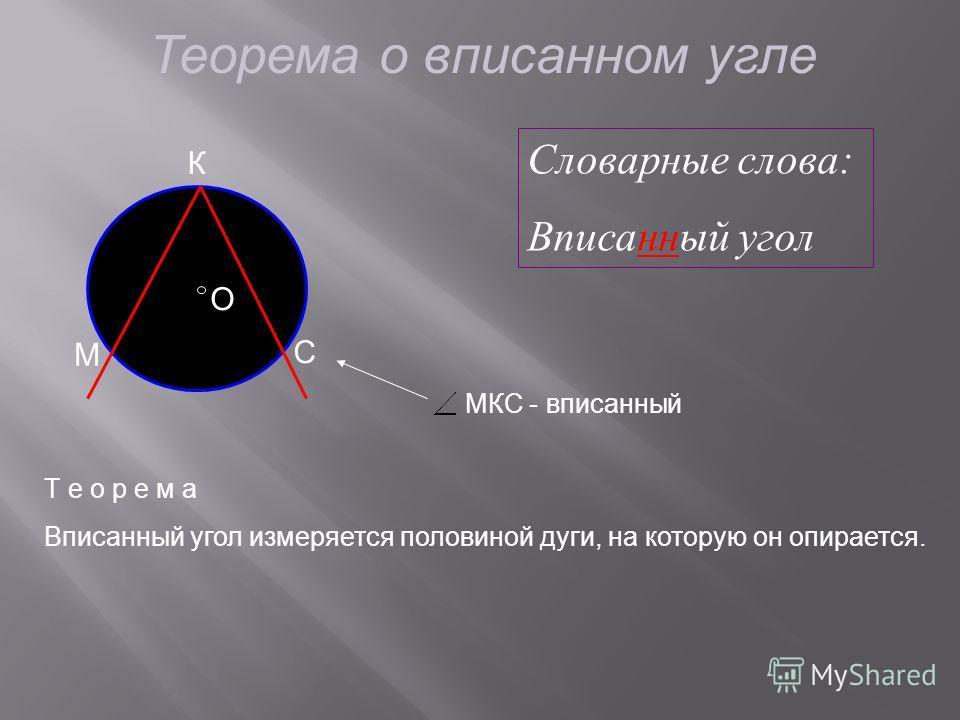 Теорема о вписанном угле C М O К МКС - вписанный Т е о р е м а Вписанный угол измеряется половиной дуги, на которую он опирается. Словарные слова: Вписанный угол