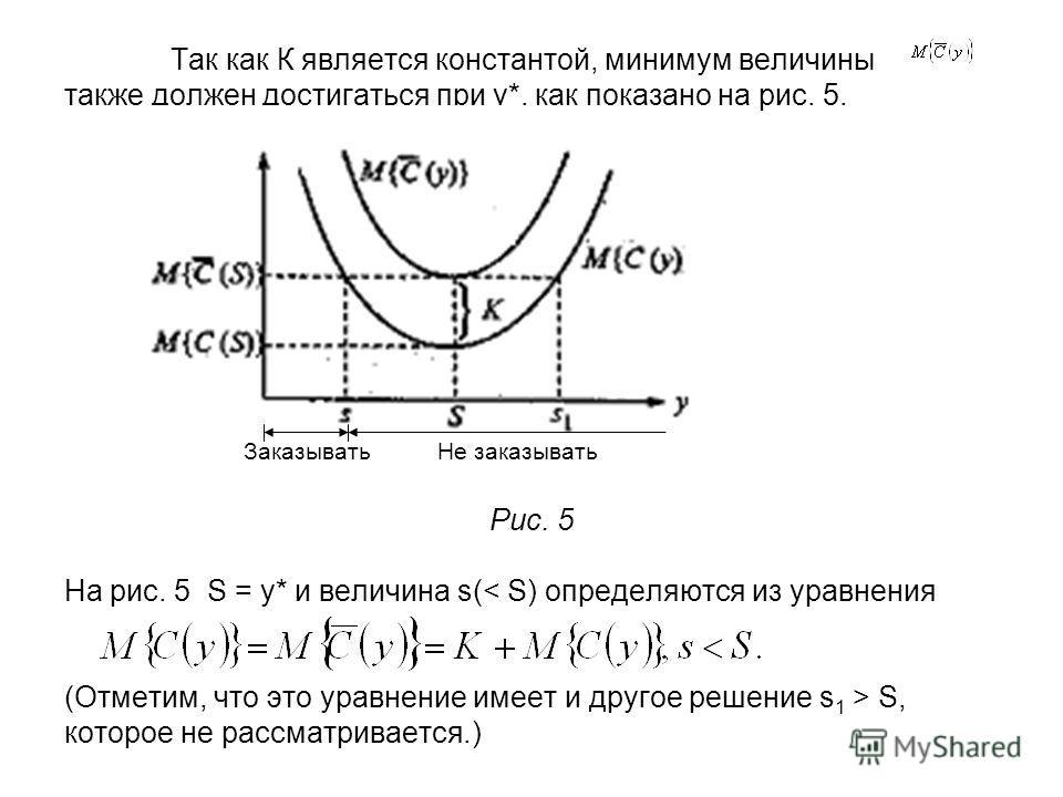 Так как К является константой, минимум величины также должен достигаться при у*, как показано на рис. 5. Заказывать Не заказывать Рис. 5 На рис. 5 S = y* и величина s( S, которое не рассматривается.)
