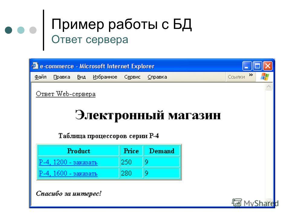 Пример работы с БД Ответ сервера