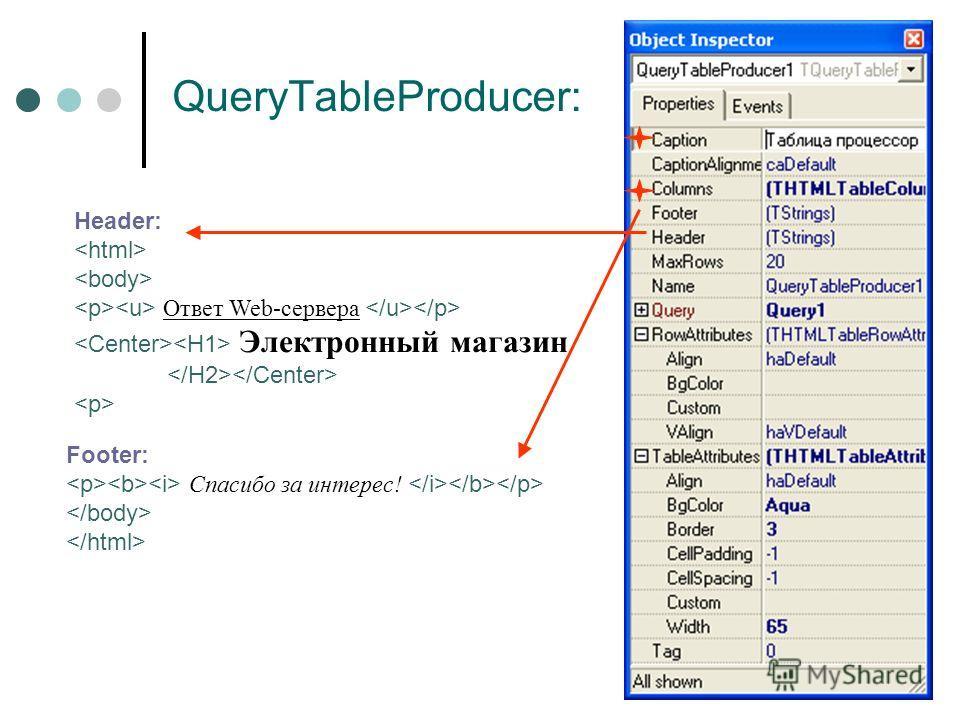 QueryTableProducer: Header: Ответ Web-сервера Электронный магазин Footer: Спасибо за интерес!