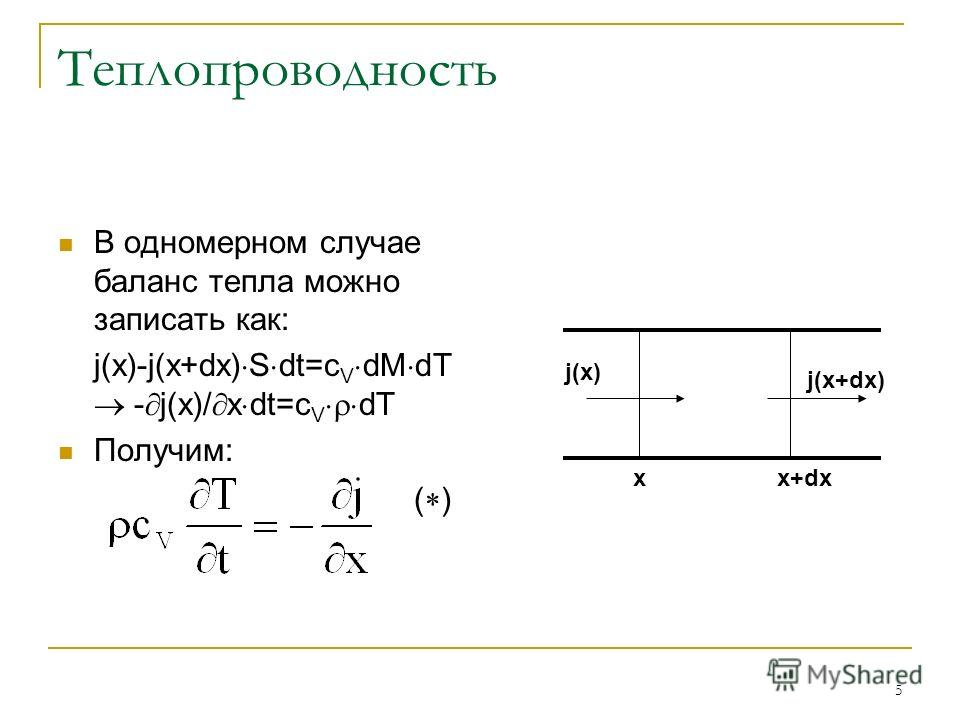 5 Теплопроводность В одномерном случае баланс тепла можно записать как: j(x)-j(x+dx) S dt=c V dM dT - j(x)/ x dt=c V dT Получим: ( ) j(x) j(x+dx) xx+dx