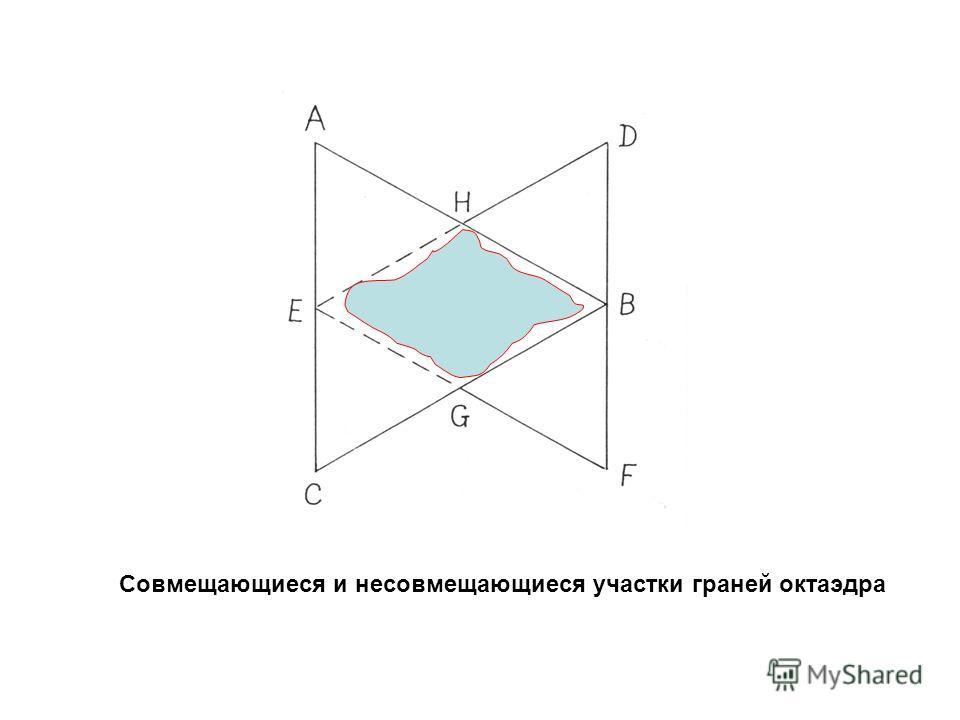 Совмещающиеся и несовмещающиеся участки граней октаэдра