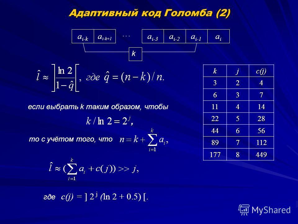Адаптивный код Голомба (2) a i-1 a i-2 a i-3... a i-k+1 a i-k aiai k с(j) = ] 2 j (ln 2 + 0.5) [.kj c(j) 324 637 11414 22528 44656 897112 1778449 то с учётом того, что если выбрать k таким образом, чтобы, где
