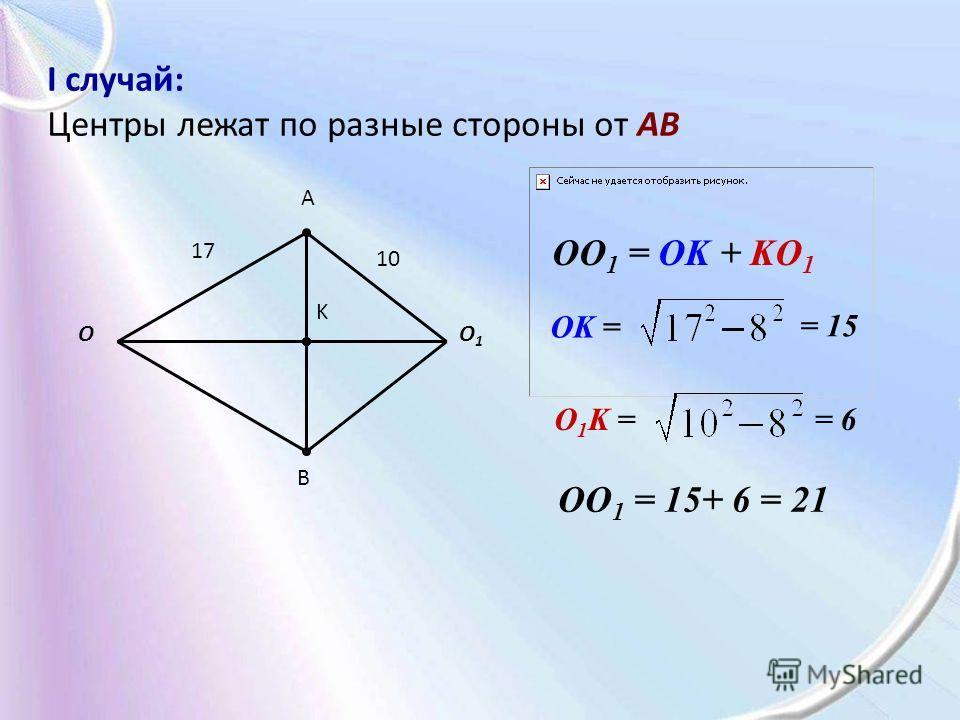 I случай: Центры лежат по разные стороны от AB A B O1O1 O K OO 1 = 15+ 6 = 21 OK = = 15 O 1 K == 6 17 10 OO 1 = OK + KO 1