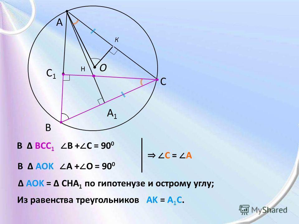 O A B C C1C1 A1A1 К В BCC 1 В + C = 90 0 В AOK A + O = 90 0 C = A H AOK = CHA 1 по гипотенузе и острому углу; Из равенства треугольников AK = A 1 C.