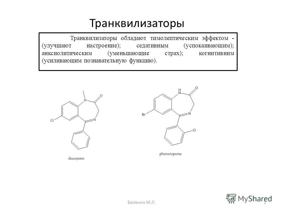 Транквилизаторы Транквилизаторы обладают тимолептическим эффектом - (улучшают настроение); седативным (успокаивающим); анксиолитическим (уменьшающие страх); когнитивним (усиливающим познавательную функцию). 1Белянин М.Л.