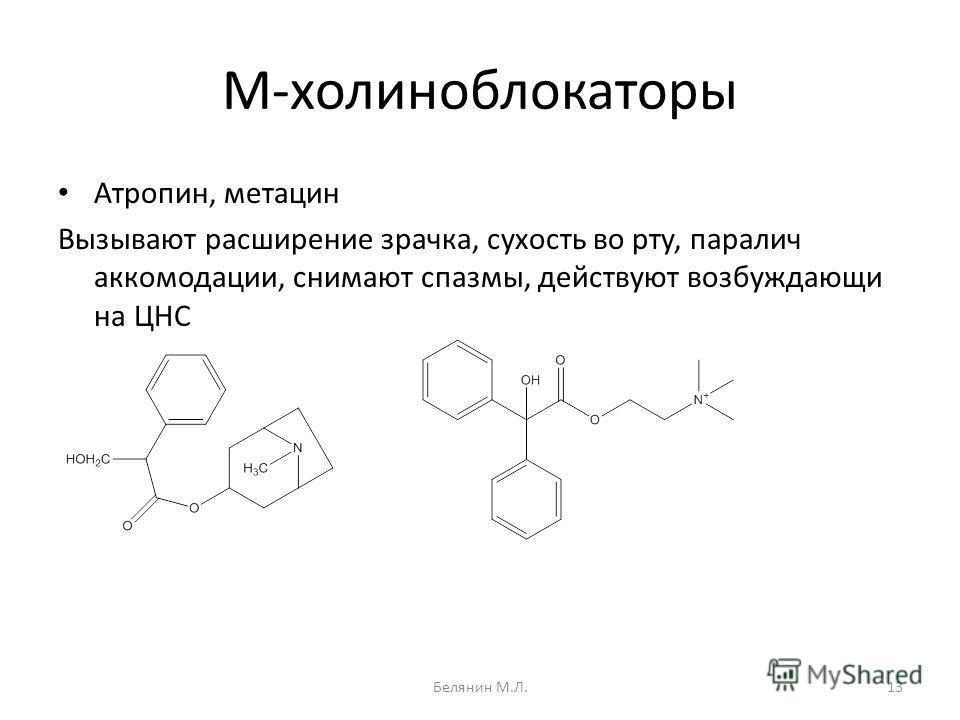 М-холиноблокаторы Атропин, метацин Вызывают расширение зрачка, сухость во рту, паралич аккомодации, снимают спазмы, действуют возбуждающи на ЦНС 13Белянин М.Л.