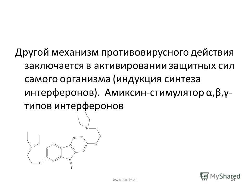 Другой механизм противовирусного действия заключается в активировании защитных сил самого организма (индукция синтеза интерферонов). Амиксин-стимулятор α,β,γ- типов интерферонов 24Белянин М.Л.
