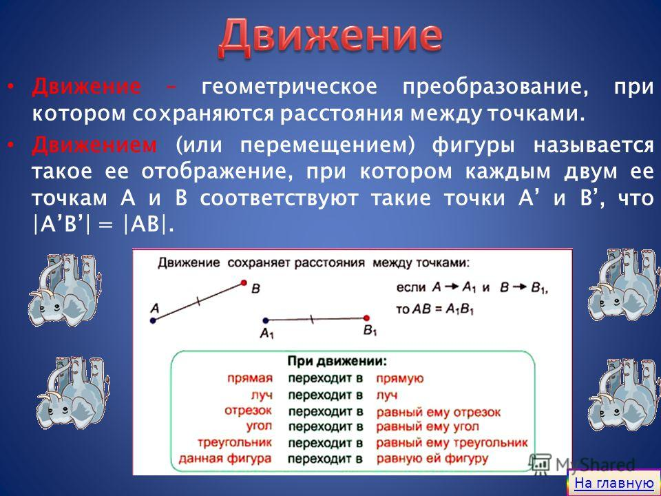 Движение – геометрическое преобразование, при котором сохраняются расстояния между точками. Движением (или перемещением) фигуры называется такое ее отображение, при котором каждым двум ее точкам A и B соответствуют такие точки A и B, что |AB| = |AB|.