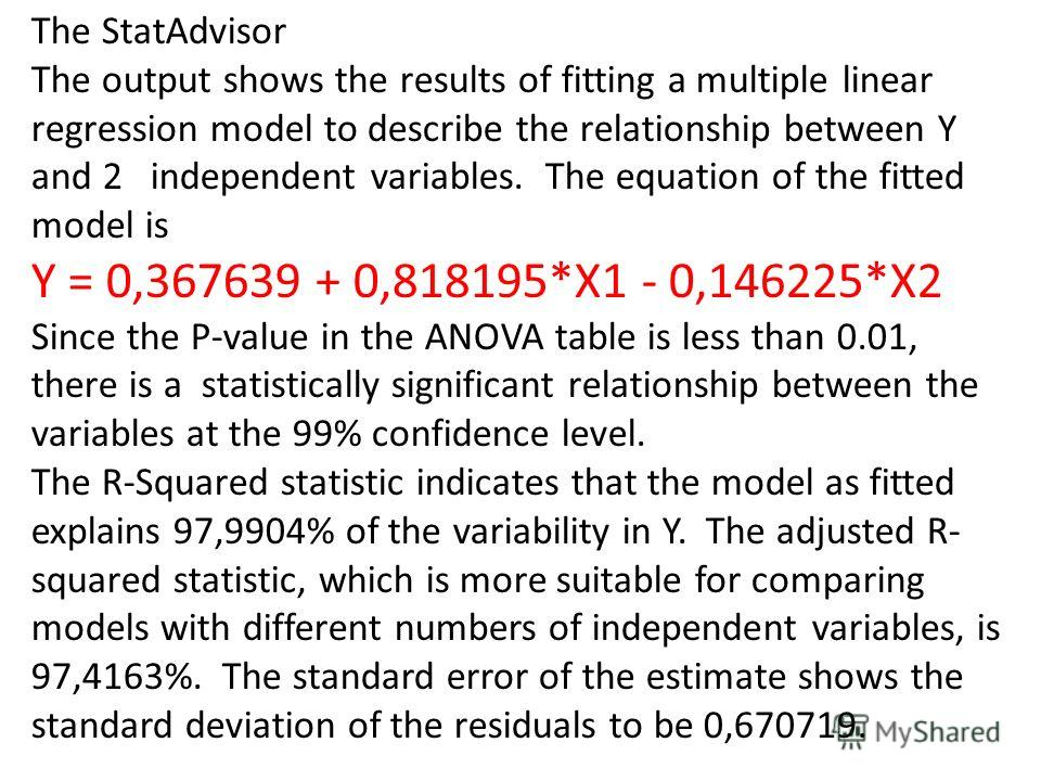 The StatAdvisor The output shows the results of fitting a multiple linear regression model to describe the relationship between Y and 2 independent variables. The equation of the fitted model is Y = 0,367639 + 0,818195*X1 - 0,146225*X2 Since the P-va