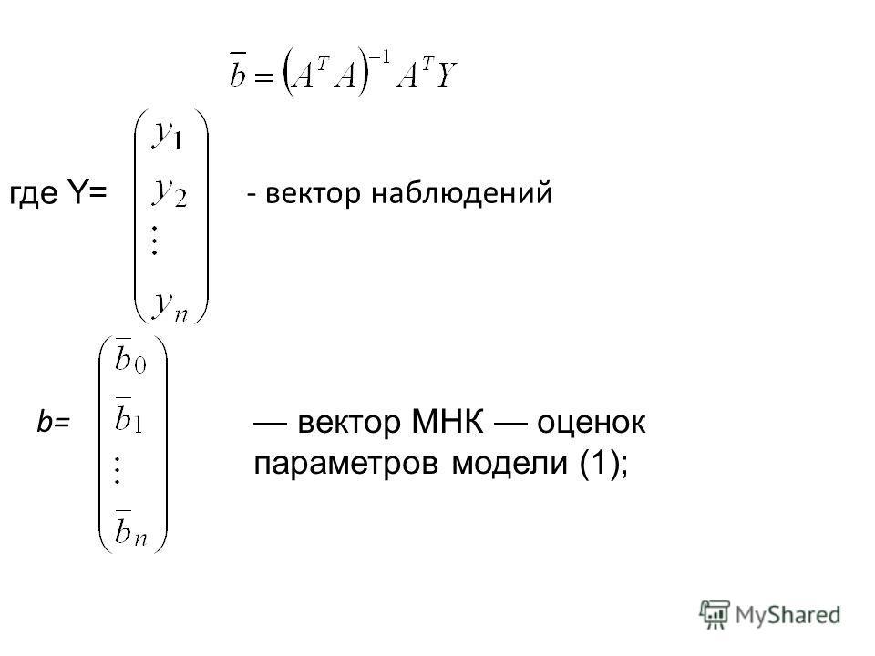 где Y= - вектор наблюдений вектор МНК оценок параметров модели (1); b=