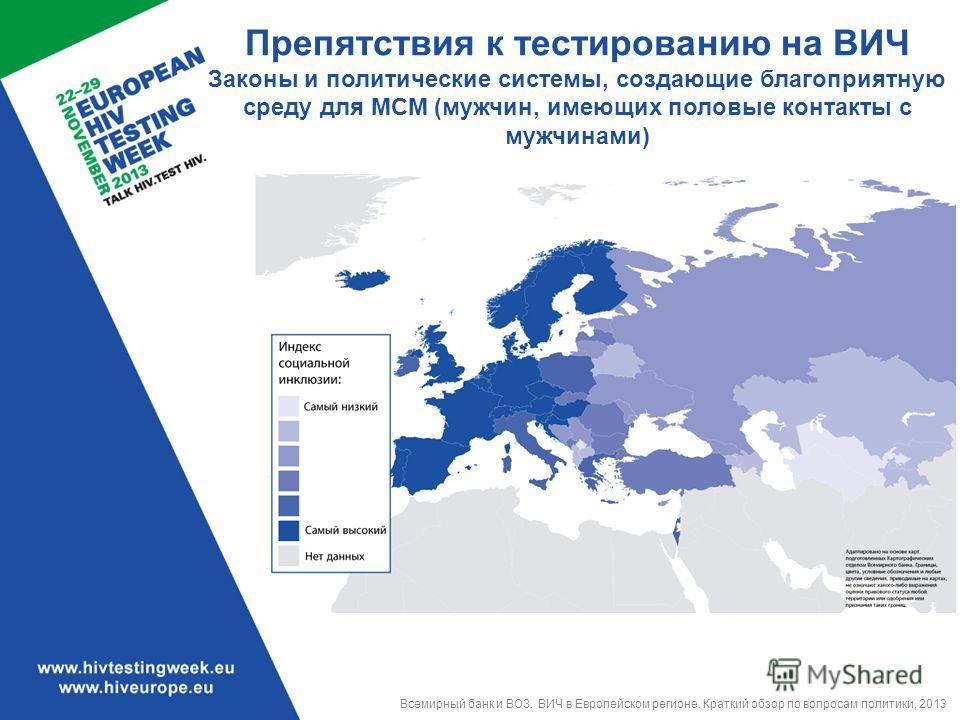 Препятствия к тестированию на ВИЧ Законы и политические системы, создающие благоприятную среду для МСМ (мужчин, имеющих половые контакты с мужчинами) Всемирный банк и ВОЗ. ВИЧ в Европейском регионе. Краткий обзор по вопросам политики, 2013