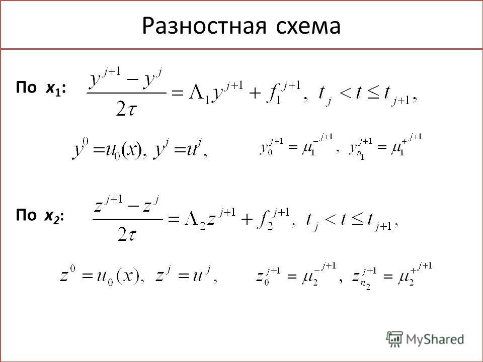 Разностная схема По x 1 : По x 2 :