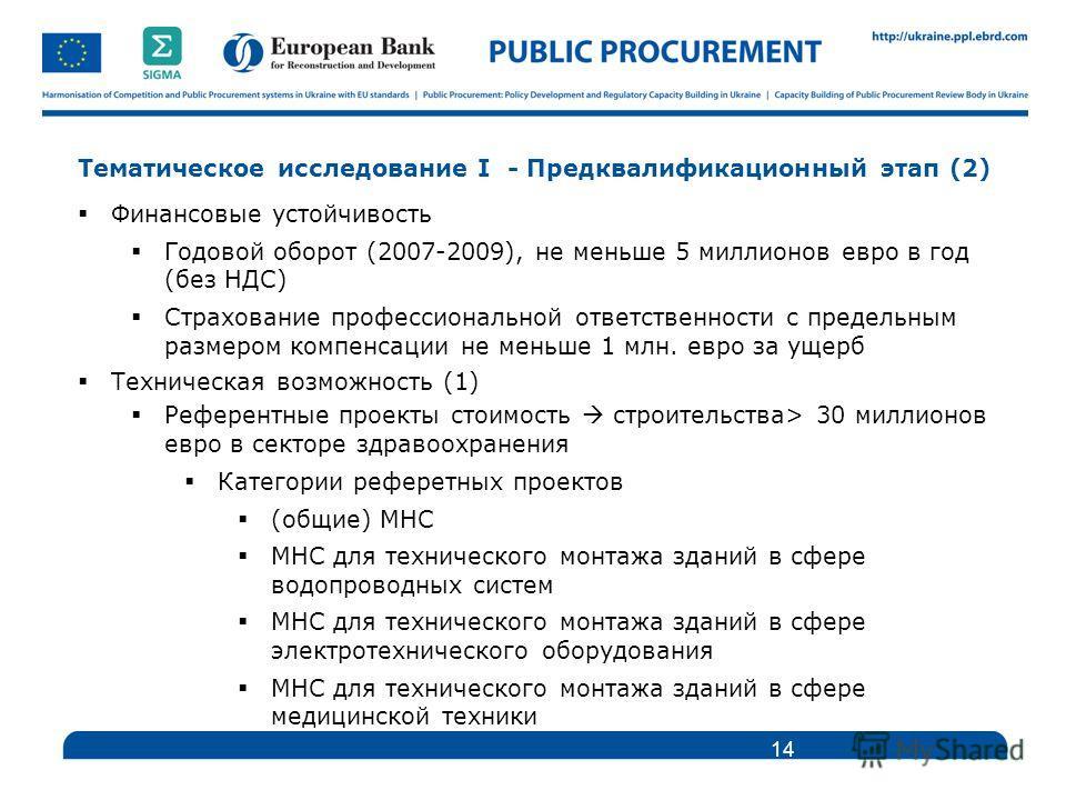 Тематическое исследование I - Предквалификационный этап (2) Финансовые устойчивость Годовой оборот (2007-2009), не меньше 5 миллионов евро в год (без НДС) Страхование профессиональной ответственности с предельным размером компенсации не меньше 1 млн.