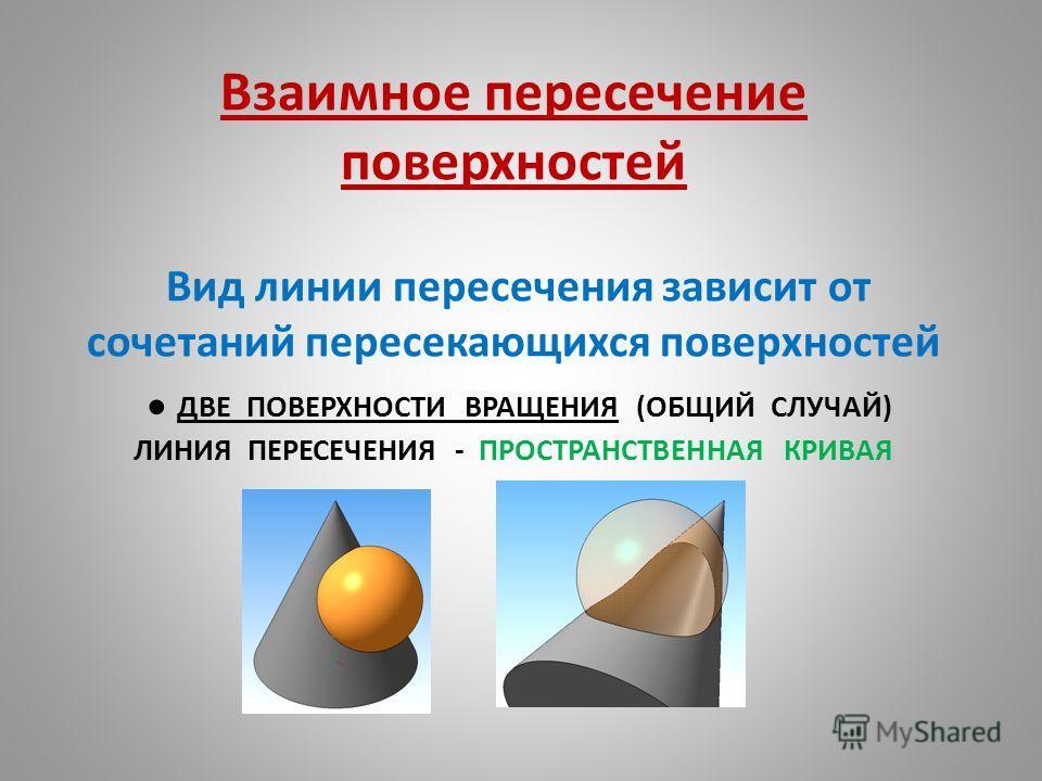 Взаимное пересечение поверхностей Вид линии пересечения зависит от сочетаний пересекающихся поверхностей ДВЕ ПОВЕРХНОСТИ ВРАЩЕНИЯ (ОБЩИЙ СЛУЧАЙ) ЛИНИЯ ПЕРЕСЕЧЕНИЯ - ПРОСТРАНСТВЕННАЯ КРИВАЯ
