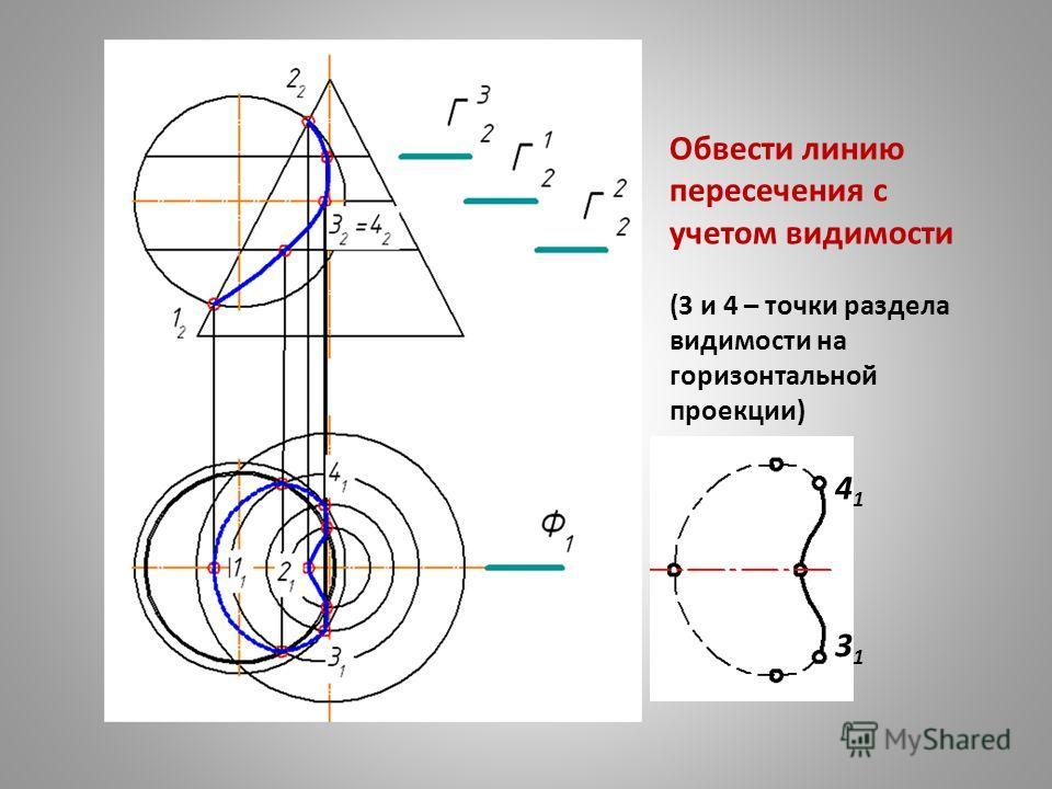 4141 3131 Обвести линию пересечения с учетом видимости (3 и 4 – точки раздела видимости на горизонтальной проекции)