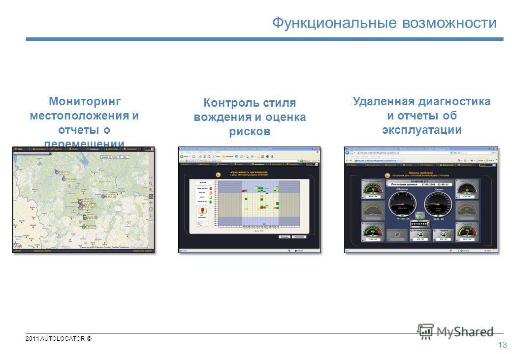 2011 AUTOLOCATOR © Мониторинг местоположения и отчеты о перемещении Контроль стиля вождения и оценка рисков Удаленная диагностика и отчеты об эксплуатации 13 Функциональные возможности