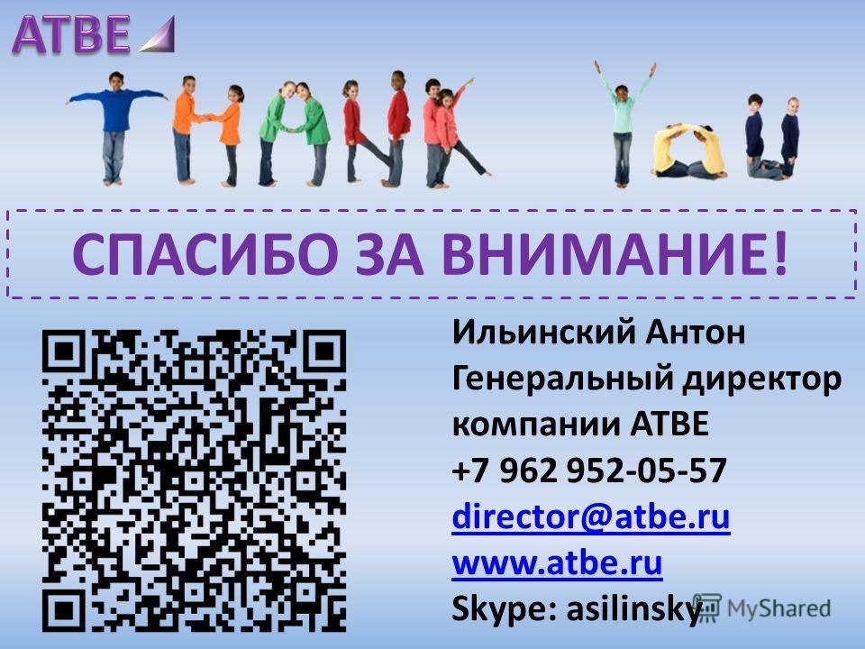 Ильинский Антон Генеральный директор компании ATBE +7 962 952-05-57 director@atbe.ru www.atbe.ru Skype: asilinsky СПАСИБО ЗА ВНИМАНИЕ!