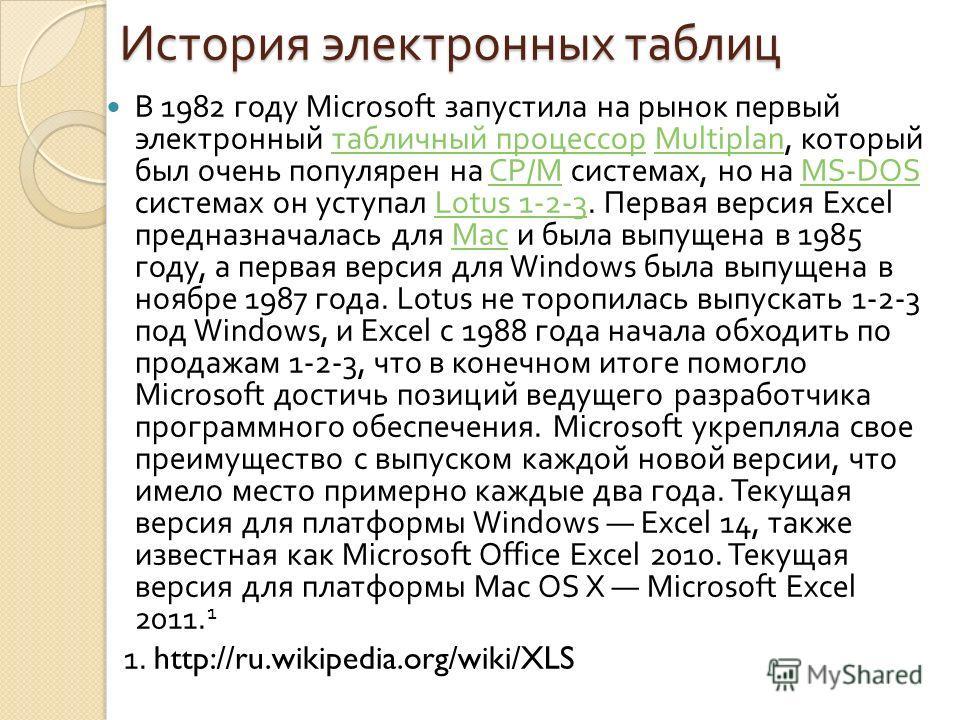История электронных таблиц В 1982 году Microsoft запустила на рынок первый электронный табличный процессор Multiplan, который был очень популярен на CP/M системах, но на MS-DOS системах он уступал Lotus 1-2-3. Первая версия Excel предназначалась для