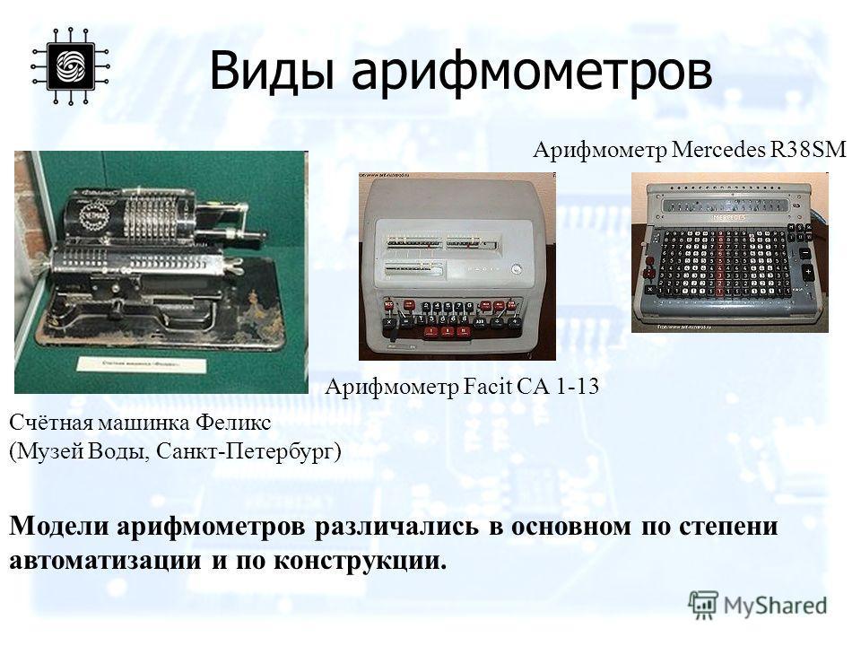 Виды арифмометров Счётная машинка Феликс (Музей Воды, Санкт-Петербург) Арифмометр Facit CA 1-13 Арифмометр Mercedes R38SM Модели арифмометров различались в основном по степени автоматизации и по конструкции.