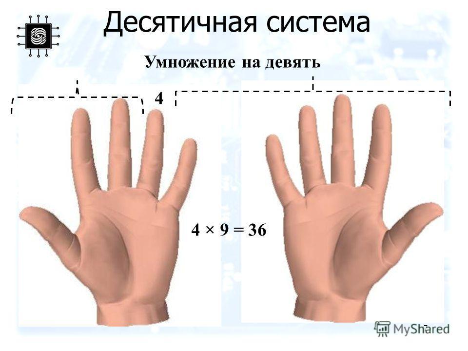 Десятичная система 7 Умножение на девять 4 4 × 9 = 36