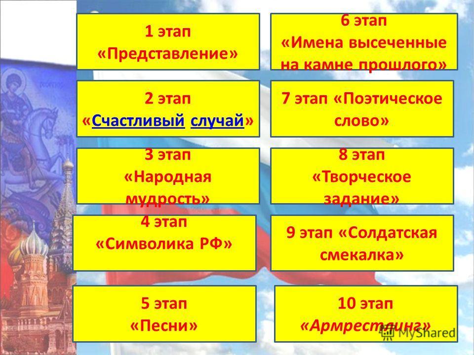 1 этап «Представление» 6 этап «Имена высеченные на камне прошлого» 2 этап «Счастливый случай»Счастливыйслучай 7 этап «Поэтическое слово» 3 этап «Народная мудрость» 8 этап «Творческое задание» 4 этап «Символика РФ» 9 этап «Солдатская смекалка» 5 этап