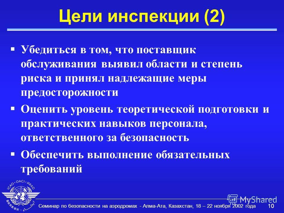 Семинар по безопасности на аэродромах - Алма-Ата, Казахстан, 18 – 22 ноября 2002 года 10 Цели инспекции (2) Убедиться в том, что поставщик обслуживания выявил области и степень риска и принял надлежащие меры предосторожности Оценить уровень теоретиче