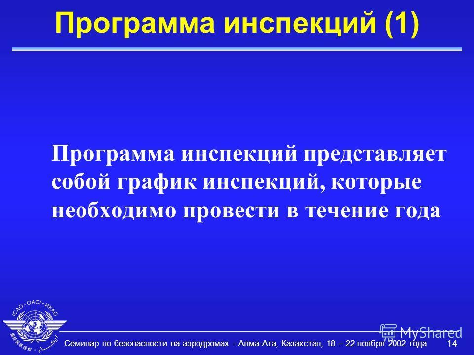 Семинар по безопасности на аэродромах - Алма-Ата, Казахстан, 18 – 22 ноября 2002 года 14 Программа инспекций (1) Программа инспекций представляет собой график инспекций, которые необходимо провести в течение года
