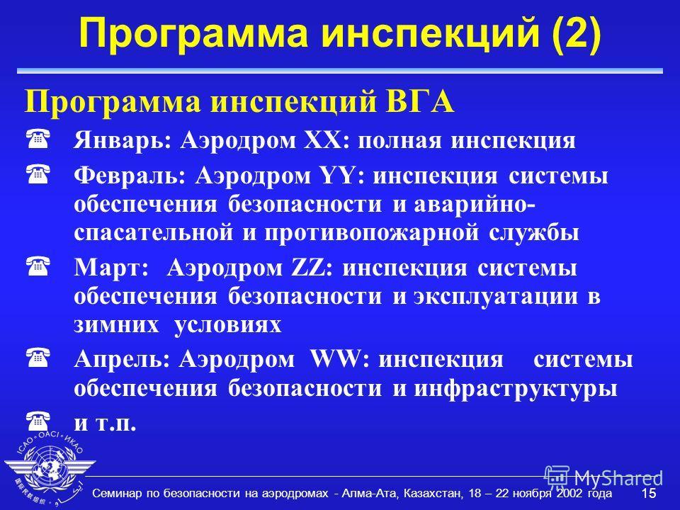 Семинар по безопасности на аэродромах - Алма-Ата, Казахстан, 18 – 22 ноября 2002 года 15 Программа инспекций (2) Программа инспекций ВГА (Январь: Аэродром XX: полная инспекция (Февраль: Аэродром YY: инспекция системы обеспечения безопасности и аварий