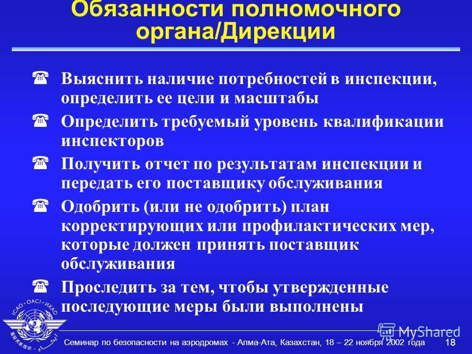 Семинар по безопасности на аэродромах - Алма-Ата, Казахстан, 18 – 22 ноября 2002 года 18 Обязанности полномочного органа/Дирекции Выяснить наличие потребностей в инспекции, определить ее цели и масштабы (Определить требуемый уровень квалификации инсп