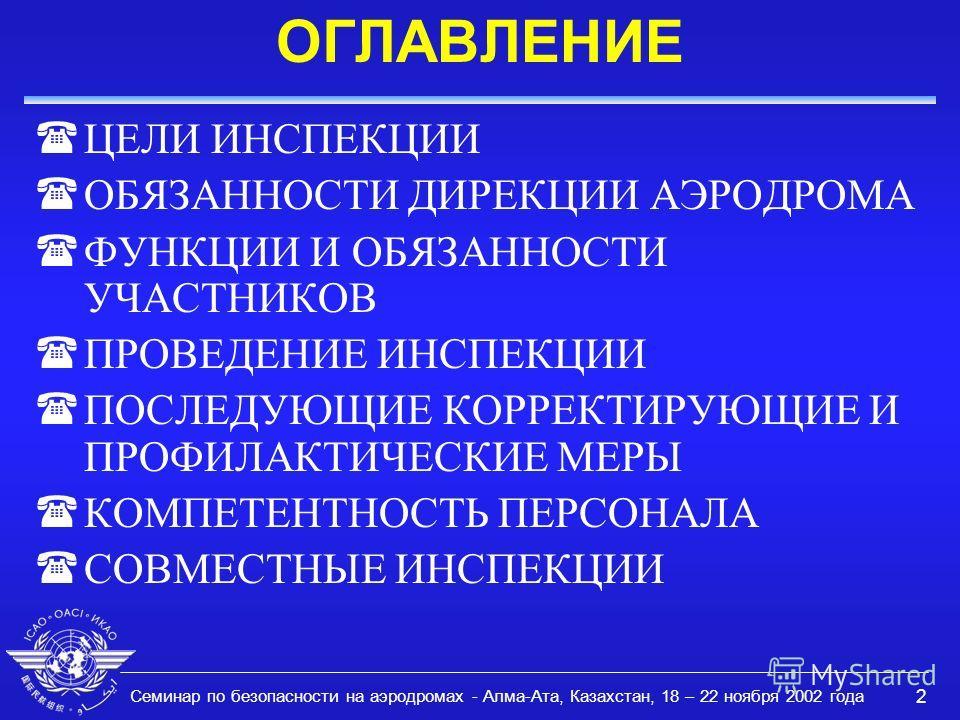 Семинар по безопасности на аэродромах - Алма-Ата, Казахстан, 18 – 22 ноября 2002 года 2 ОГЛАВЛЕНИЕ ( ЦЕЛИ ИНСПЕКЦИИ ОБЯЗАННОСТИ ДИРЕКЦИИ АЭРОДРОМА ФУНКЦИИ И ОБЯЗАННОСТИ УЧАСТНИКОВ (ПРОВЕДЕНИЕ ИНСПЕКЦИИ (ПОСЛЕДУЮЩИЕ КОРРЕКТИРУЮЩИЕ И ПРОФИЛАКТИЧЕСКИЕ М