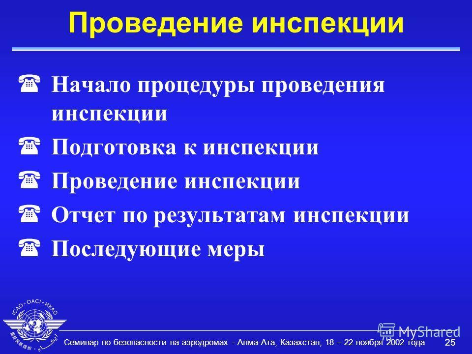 Семинар по безопасности на аэродромах - Алма-Ата, Казахстан, 18 – 22 ноября 2002 года 25 Проведение инспекции (Начало процедуры проведения инспекции (Подготовка к инспекции (Проведение инспекции (Отчет по результатам инспекции (Последующие меры