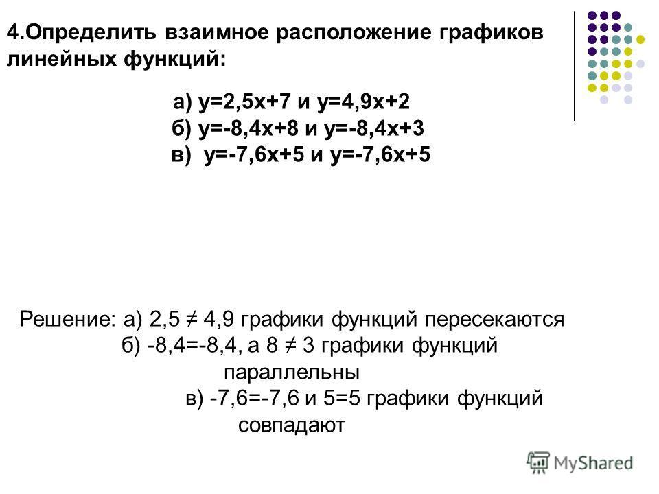 4.Определить взаимное расположение графиков линейных функций: а) у=2,5х+7 и у=4,9х+2 б) у=-8,4х+8 и у=-8,4х+3 в) у=-7,6х+5 и у=-7,6х+5 Решение: а) 2,5 4,9 графики функций пересекаются б) -8,4=-8,4, а 8 3 графики функций параллельны в) -7,6=-7,6 и 5=5